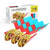 GINKGO Taco Holder Stand Set of 4 - Premium Large Taco Truck Tray Style Rack with Handles Holds Up to 3 Tacos Each, PP Health Material Very Hard and Sturdy, Dishwasher & Microwave Safe
