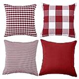 Set di 4 federe decorative per cuscino a quadri in cotone a righe in tinta unita, per divano e camera da letto, 45 x 45 cm, rosso e bianco