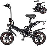 Tazzaka Bicicleta Eléctrica Plegable 14 Pulgadas Ciclomotor Bicicletas Bici de Ciudad/Montaña 400W 25km/h Bateria de Litio 48V 15AH de Aluminio Display LCD para Adultos [EU Stock]