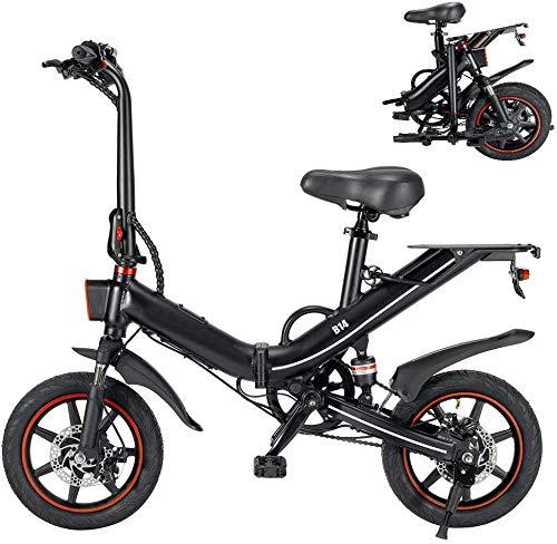 Tazzaka Bicicleta Eléctrica Plegable 400W 25km/h Ruedas de 14 Pulgadas Bicicleta de Ciudad/Montaña/Todoterreno Bateria de Litio 48V 10/15AH Marco de Aluminio Display LCD 3 Modos [EU Stock]
