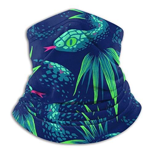 ASDTF Polaina de forro polar para el cuello de serpiente verde en la selva tropical para el invierno para el cuello calentador de cuello, bufanda para la cabeza