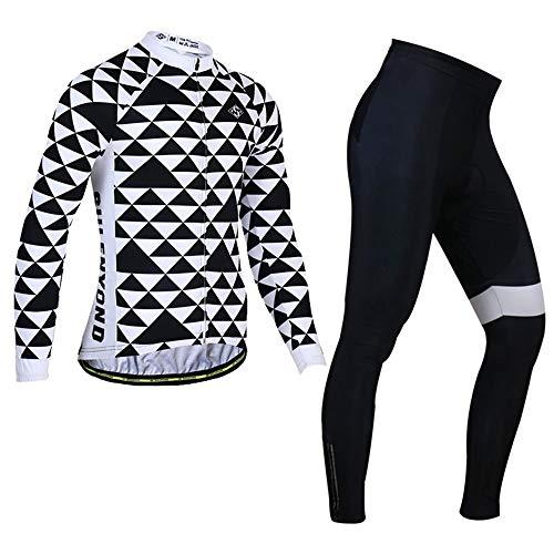 PGone Ensemble de vêtements à vélo à Manches Longues d'hiver for Hommes - Triangle Noir Jersey Jersey Costumes Vélo Vélo Vélo VTT Vêtements de Sport en Plein air (Size : Medium)