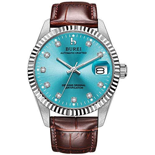 BUREI Herren Automatische Armbanduhr Kratzfestes Synthetisches Saphirglas mit Datumsanzeige Kleines Lederband