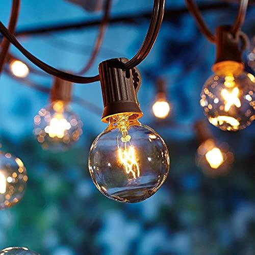 Catena luminosa da esterni, 2 x 17 m, per esterni, versione migliorata, OxyLED, catena luminosa da giardino, impermeabile (100 lampadine, 20 lampadine di ricambio, luce gialla), LED di emergenza