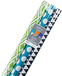 Hallmark Reversible Wrapping Paper, Brights, Prints and Solids (Pack of 3, 120 sq. ft. ttl.)