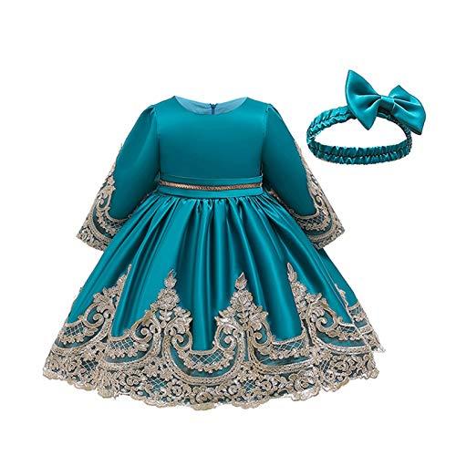 Melisay Pokonl Vestidos de nia de flores elegante vestido de princesa bordado de encaje para nios, fiesta de boda, vestido de fiesta de Navidad, vestido de encaje bordado para nias