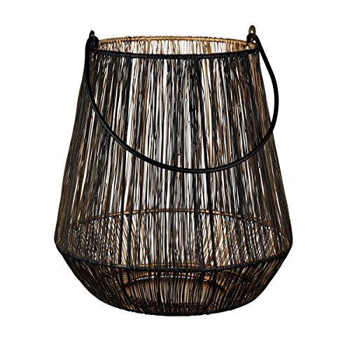 Butlers Yoko Laterne Ø 23 cm in Schwarz-Gold - Asiatisches Windlicht aus Metall in Korb-Form - Kerzenlaterne aus Eisen