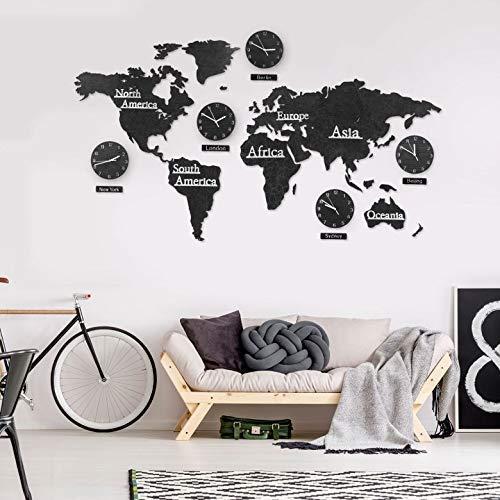 3D Holz Weltkarte mit Uhren Set - MDF Weltzeituhren Weltuhren Wanduhren Schilder Kontinente Länder Wand Deko Wall-Art (190 x 120 cm (5 Uhren), Holz schwarz)