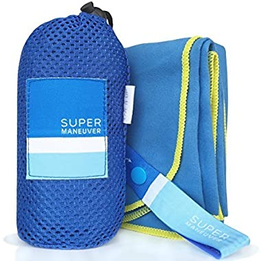 Super Towel for Sports, Travel & Beach — Extra Large, Lightweight, Compact, Absorbent, Quick-Drying, Soft Microfiber Suede — For indoors, outdoors, pool, gym, camping (Blue+Yellow, XL (60x32 ))