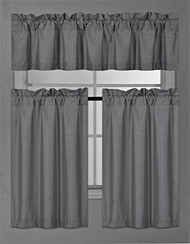 Elegant Home Collection 3 Piece Solid Color Faux Silk Blackout Kitchen Window Curtain Set with Tiers and Valance Solid Color Lined Thermal Blackout Drape Window Treatment Set #K3(Charcoal/Dark Grey)