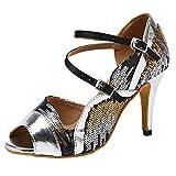 HROYL Zapatos de Baile Latino Mujer Salsa Tacon Alto Zapatos de Baile Bachata de Salón,Modelo YCL236-6-Plateado,EU 38.5