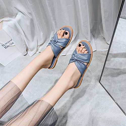 Nwarmsouth Tongs Sandales Femmes Plates,Portez des Sandales Plates à l'extérieur, Chaussures d'été pour Femmes Grandes Tailles-Bleu_36,Extérieur Bain Sandal