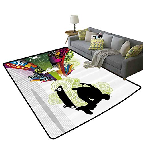 Teenager Decor Children Crawling Bedroom Rug Vivid Young Theme Design with Scater Boy and Rainbow Colores Swirls Borders Children's Play mat Multicolor, 5'x 7'(150x210cm)
