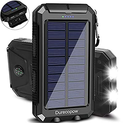 Solar Charger, Durecopow 20000mAh Portable Outdoor Waterproof Solar Power Bank, Camping External Backup Battery Pack Dual 5V USB Ports Output, 2 Led Light Flashlight with Compass (Black)