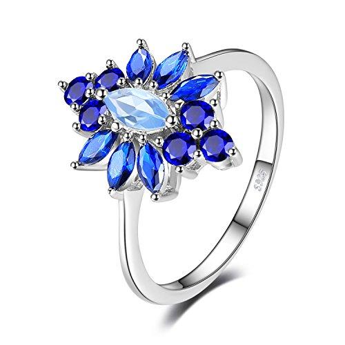JewelryPalace Anillo de boda Moda Pétalo 2.5ct Creado Espinela Azul en plata de ley 925 Tamaño 11