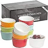 Chefarone Soufflé Förmchen Set spülmaschinenfest - Creme Brulee Schälchen Porzellan zum Backen und Anrichten - Mini Auflaufformen 200 ml - 10er Set Multicolor (9 x 7.5 x 5 cm)
