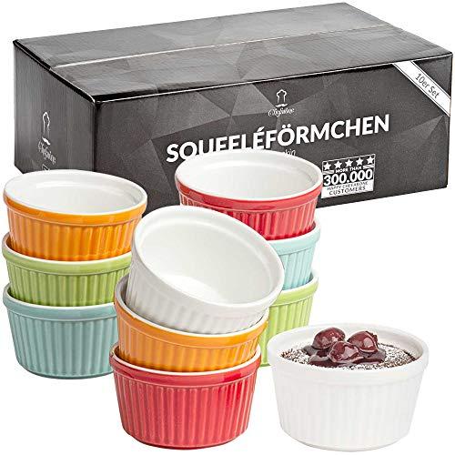 Chefarone Soufflé Förmchen 10er Set backofenfest - Creme Brulee Schälchen Keramik zum Backen und Anrichten - mini Auflaufformen 200 ml - 10er Set multicolor (9 x 7.5 x 5 cm)