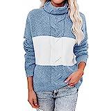 Nileco Cómoda Estirable Punto Sweatshirt para Caída,Cálido Bloque de Color Pullover Manga Larga Casual Puente Saco,Mujeres Cuello Suéter-Azul M