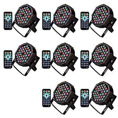 Kebert Par Lights, 36 X 1W RGB Led DJ Stage Lights with Remote Control Compatible with DMX, Sound Activated Stage Light, 9 Modes Par flood lights for Wedding Bar Party DJ Show - 8 Pack by Kebert