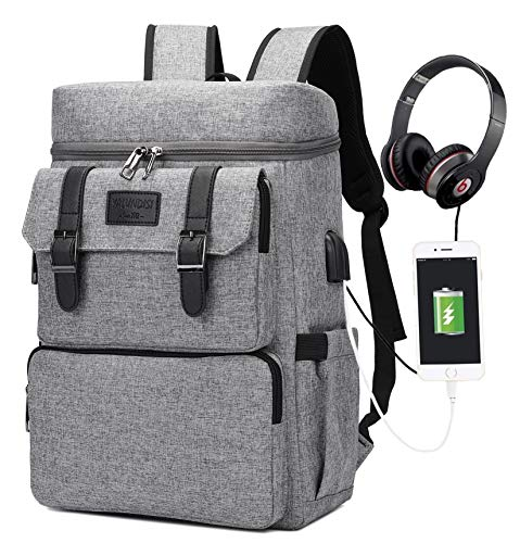 Backpack for Men Women Laptop Backpack Bookbags College Backpacks Laptop Bookbag Vintage Backpack with USB Charging Port Fit 15.6 inch Laptop Grey Fashion Backpack