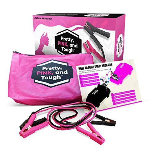 Pretty Pink and Tough Deluxe Jumper Cable Set - Pink Jumper Cables for Teen Girls and Women - 12-ft, Pink and Black Carry Pouch, Instruction Card,
