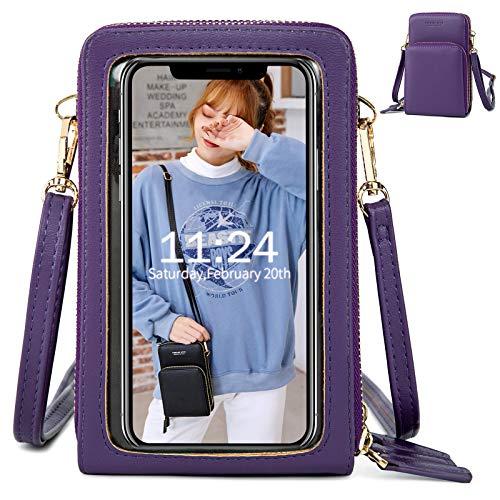 Handy Umhängetasche Damen, Touchscreen Tasche Kleine Crossbody Schultertasche Brieftasche Handtasche, 3 Reißverschluss Beutel mit Vielen Fächern Kartenfach Geldbörse für Handy unter 6.5 Zoll, Lila