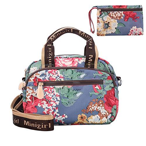 Gophra Umhängetasche für Frauen Mädchen, leichte wasserdichte Nylon Damen Handtasche, Sportliche Schultertasche Einkaufstasche mit Brieftasche(Strauchpäonie)
