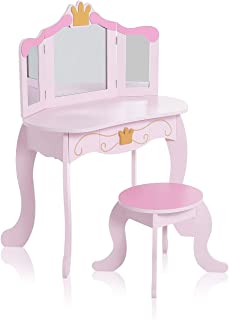 Baby Vivo Coiffeuse Enfant Table de Maquillage Commode de Maquillage Vanité Meuble MDF avec Miroirs Pliable et Tabouret - ...