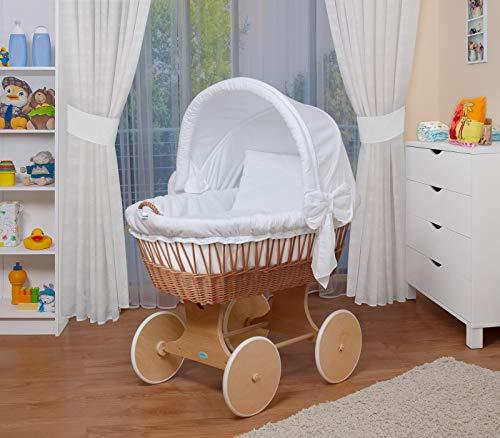 WALDIN Baby Stubenwagen-Set mit Ausstattung,XXL,Bollerwagen,komplett,26 Modelle wählbar,Gestell/Räder natur unbehandelt,Stoffe weiß