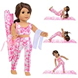 ZITA ELEMENT American 18 Inch Girl Doll Yoga Pilates Clothes Set for 18 Inch Doll Yoga Pilates Clothes Outfits Set 3 Items Included 1 Pcs Yoga Mat, 1 Set of Yoga Outfits and 1 Towel