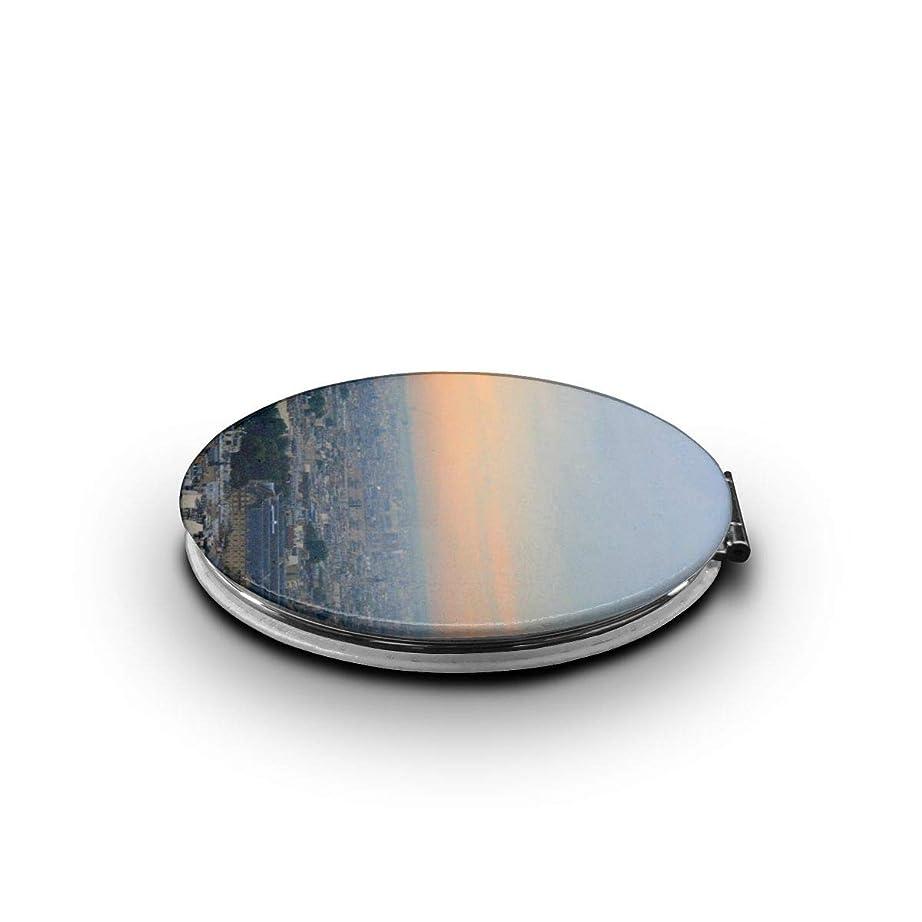 ささやき待つ常識ミラー 化粧鏡 パリのエッフェル塔 コンパクトミラー 軽量 丸型 折りたたみ鏡
