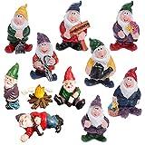 TBoxBo 11 Stück Mini-Gartenzwerg Figur Feengarten Zwerge Elfe Figur Garten Zwerg für die Miniatur-Feengarten Garten Dekoration Outdoor kleine Ornamente und Kinder Geschenke