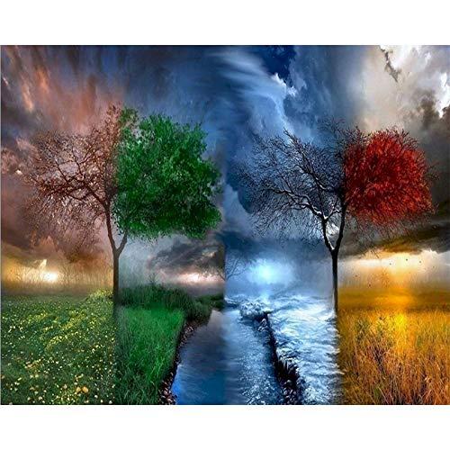 Pintura de árbol por números Temporadas con marco Kits de bricolaje sobre lienzo Pintura acrílica para adultos Colorear por números Decoración Arte W8 40x50cm