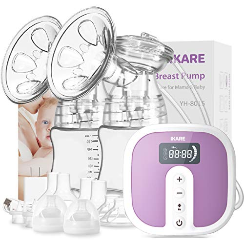 IKARE Double Electric Breast Pumps - Portable Hospital Grade Breastfeeding Pump with 5 Modes & 45 Levels - Quiet Rechargeable Milk Pump for Travel & Home