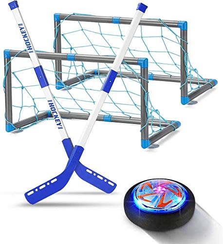 Kids Toys Hover Hockey Set Rechargeable - Hovering Hockey Toys with Foam Bumper for Indoor Games Boys and Girls, Air Power Training Ball Playing Hockey Games