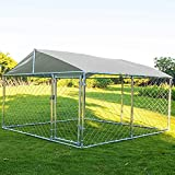 LEISU Outdoor Dog Kennel Heavy Duty Dog House with Water Resistant Cover Dog Cage Pet Resort Kennel Steel Fence with Secure Lock Mesh Sidewalls for Back or Front Yard