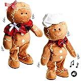 alles-meine.de GmbH 1 Stück _ XL - singender & Tanzender -  Pfefferkuchen / Lebkuchen - I Wish You a Merry Christmas  - Plüschtier mit Sound & Bewegung - 40 cm - Weihnachten - ..