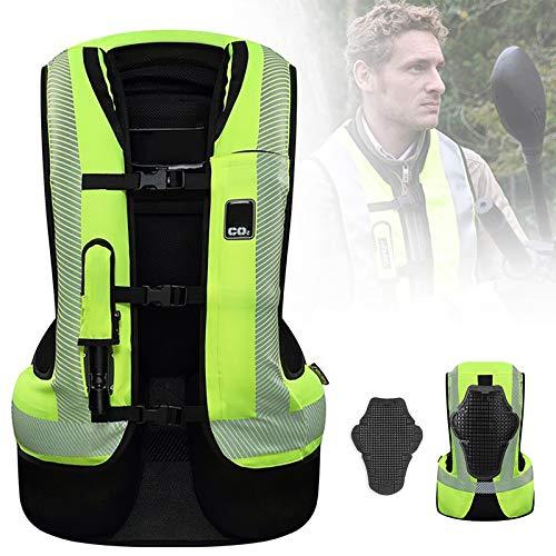 ZZJCY Grüne Motorrad-Airbagweste, Airbag Reflektierende Weste Wasserdichtes Nylongewebe, Reitweste Sicherheitskleidung Mit 3D-Netz, Atmungsaktiv, Bequem, Saugfähig, Leicht Zu Reinigen,L