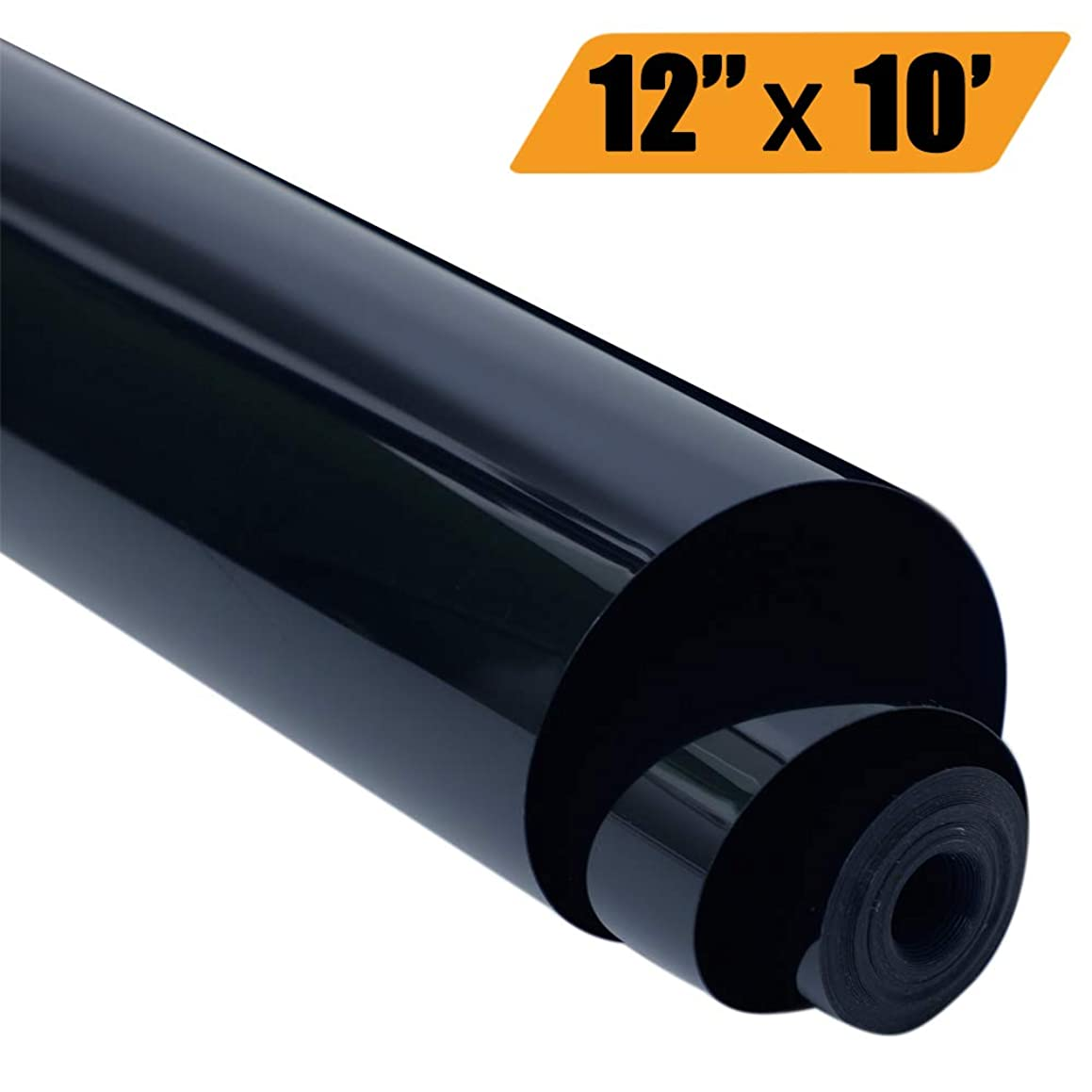 EATOP HTV Heat Transfer Vinyl, Easy to Weed Iron On Vinyl for T-Shirts 12'' x 10' Rolls (Black) dhwun24352