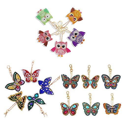 INJOYS 5D-Diamantmalerei-Schlüsselanhänger, DIY, vollständiger Bohrer, Diamantmalerei, Schlüsselanhänger, Halskette, Tasche, Eule und Schmetterling, 16 Stück