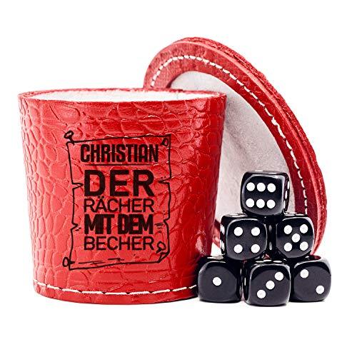 Diamandi Leder Würfelbecher Set mit Gravur | Rot inkl. 6 Würfel & Deckel | Name + EIN Motiv gravieren