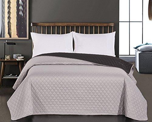 DecoKing Tagesdecke zweiseitig Bettüberwurf doppelseitig leicht zu pflegen Axel, Polyester, silber schwarz, 170x210