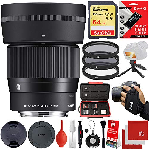 Sigma 56mm f/1.4 DC DN Contemporary Lens Sony E-Mount Bundle with 64GB Memory Card, IR Remote, 3 Piece Filter Kit, Wrist Strap, Card Reader, Memory Card Case, Tabletop Tripod