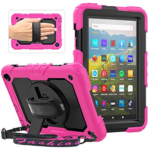SEYMAC - Custodia robusta per tablet Amazon Fire HD 8 e Fire HD 8 Plus (10ª generazione, 2020 rilasciato), custodia a prova di caduta con cinghia girevole a 360°, tracolla protettiva, colore: Rosa