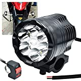 Motorcycle Led Driving Lights, 12-60V 18W 2500LM 6 CREE LEDs Waterproof Off Road Work Light Spotlights With Switch, for ATV Bike Race 4x4Pickup Boat Truck Trailer.1-Pack (25W-6LEDs)