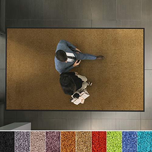 etm Hochwertige Fußmatte | schadstoffgeprüft | bewährte Eingangsmatte in Gewerbe & Haushalt | Schmutzfangmatte mit Top-Reinigungswirkung | Sauberlaufmatte waschbar & rutschfest (120x180 cm, Beige)