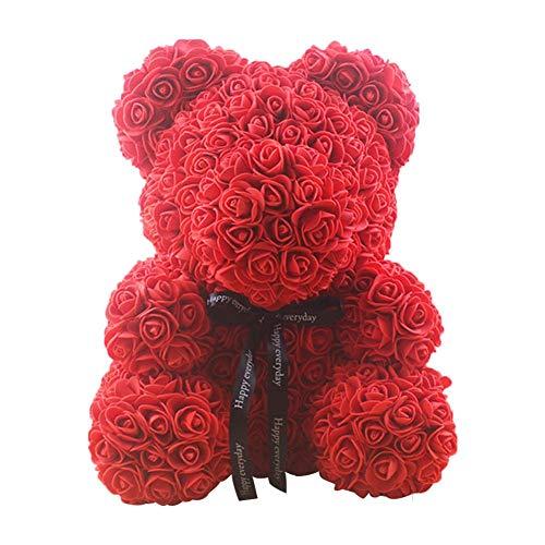 Ardentity Künstliche Rosenbären, Simulierte Vollmond Geschenk Rose Bär Puppe Künstlicher Rose-Teddybär des Valentinstags, Flower Teddy, 25cm