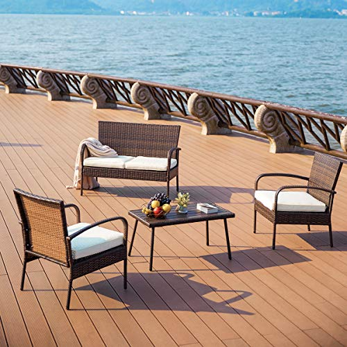 PAMAPIC Outdoor Patio Furniture Sets 【PS Board Table】 4 Pieces, Brown Embossing PE