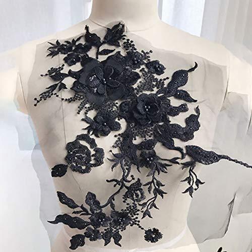 Apliques de bordado, con flores, con cuentas, en 3D, tela de encaje con diamantes de imitación, para ropa decorada, suministros de costura, No nulo, negro, Tamaño libre