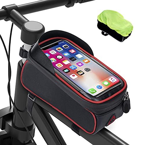 Bolsas de Móvil Bicicleta Impermeable - Bolsa Bicicleta Montaña con Pantalla Táctil de Tubo Superior Delantero con Orificio para Auriculares Teléfono Inteligente debajo de 6,5 Pulgadas, Rojo